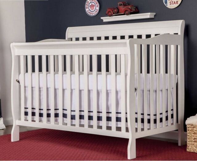 Convertible Baby Bed 5 In 1 Full Size Crib White Nursery Bedroom Furniture New