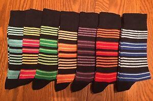 SOHO-LONDON-Mens-Crew-Dress-Socks-Fun-Hot-Multi-Color-Striped-L-8-12