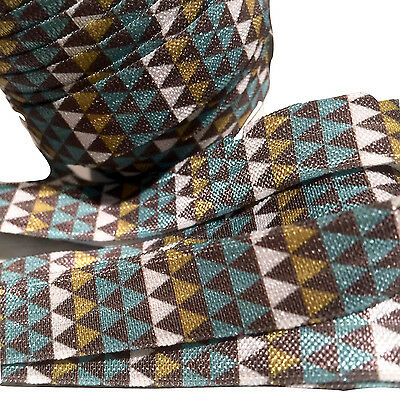 "pink /& gray tribal Aztec print 5//8/"" fold over elastic FOE yellow 5 yards black"