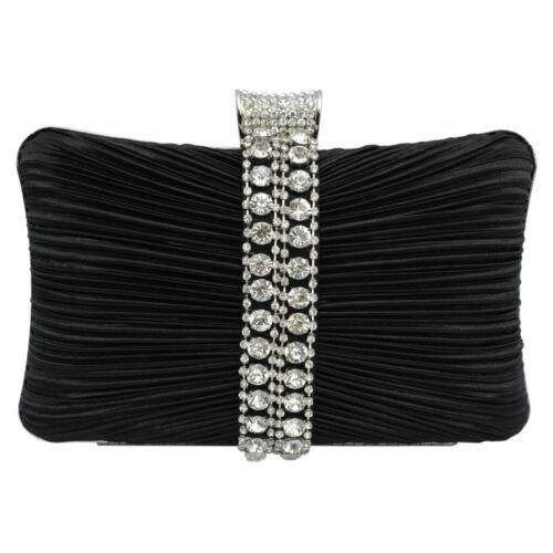 New Sparkly Crystal Diamante Satin Hardcase Wedding Prom Evening Clutch Bag