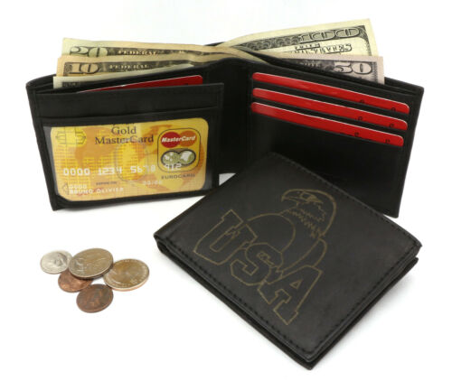Bifold Genuine Leather Black Compact Wallet with a USA Eagle Design