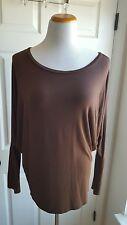 MOA Women's Size L Brown Batwing Jersey Stretch Long Sleeve Top Shirt