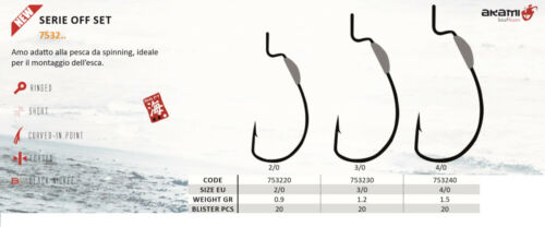 Hooks Black Bass Akami Series 7532 for the initiation of Artificial Rubber 2020