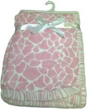 Baby Blanket Super Soft Plush 30 x 40 Giraffe Print-Pink
