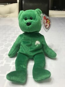 2c7a830d9e9 Ty Beanie Baby Erin Bear 1997 Retired Green Shamrock Errors ...