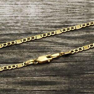 FIGARO-Chain-Bracelet-14K-SOLID-YELLOW-GOLD-for-Men-Women-3-mm-7-034-8-6-034-Unisex