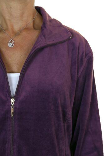 Femme Plus Taille Pleine Figure Femme Velours Survêtement Prune Neuf Taille 18-26