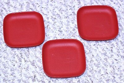 """Tupperware Toys set of three- 4"""" Square Plates red #1502-21/22/24"""
