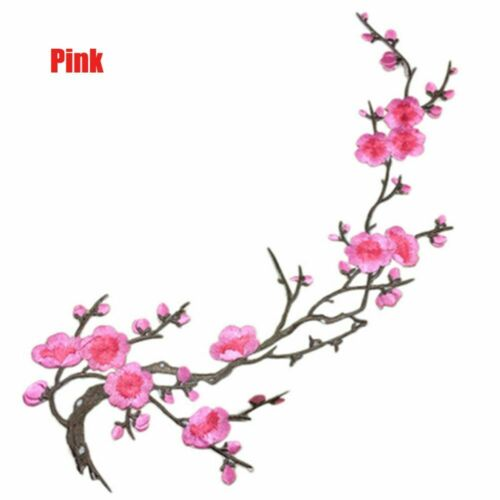 Embroidery Patch Fabric Sticker Plum Blossom Flower Applique Sew-on Accessories