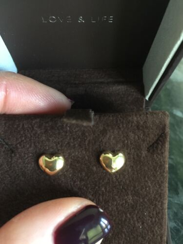 14ct Yellow Solid Gold Love Heart New Bubble Studs Cost 80 Goldsmiths