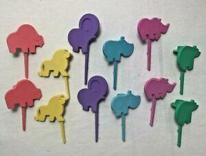 Wondrous Vintage Tupperware Birthday Cake Candle Holders Jungle Animals Lot Personalised Birthday Cards Arneslily Jamesorg