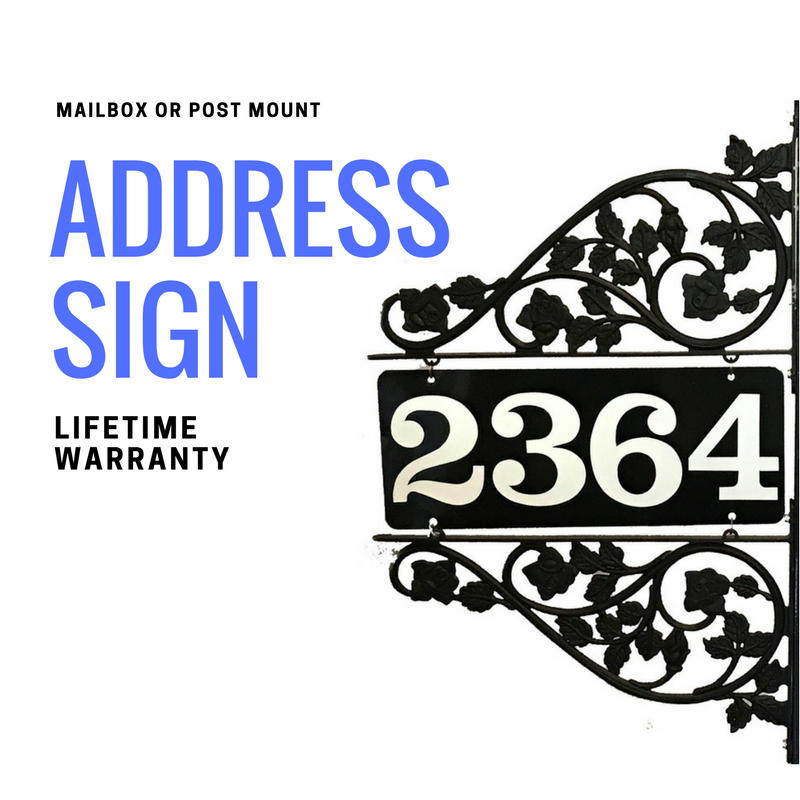 Reflective Mailbox Address Sign Double Sided Two Scroll Mount to Post or Pole