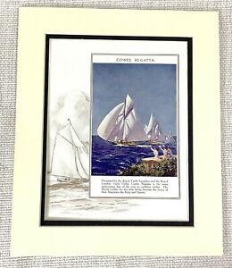 1914-Antique-Print-Cowes-Regatta-Royal-Yacht-Squadron-Sailing-Boats-Art-Deco