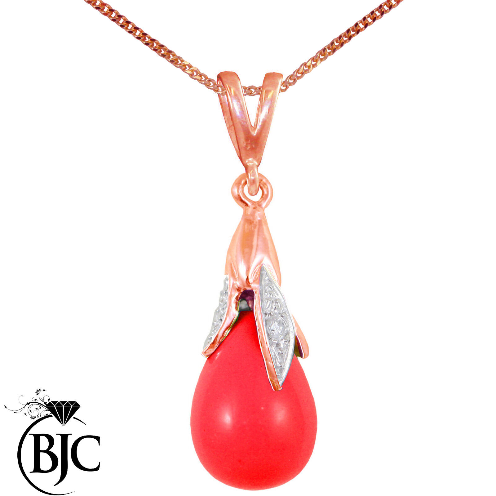 BJC 9kt gold pink red Sangue Corallo & Diamante Taglio Briolette