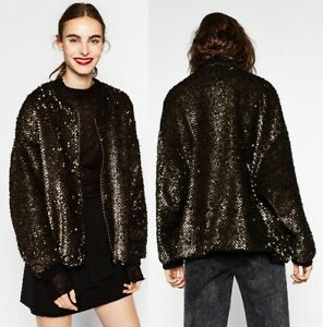 8073 Jacket Zara S Bomber 252 Metallic Black Oversized Sequinned Gold Fleece yaUUq8AZRw