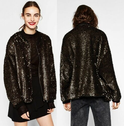 Oversized Zara Jacket Sequinned Gold Fleece S Black Metallic 252 8073 Bomber aTOgx6T