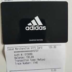 official photos 8cf0c 128c6 Image is loading Adidas-Gift-Card-Return-Courtesy-Merchandise-Store-Credit-