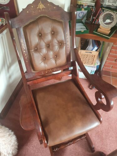 Leather rocking chair with leather foot stool