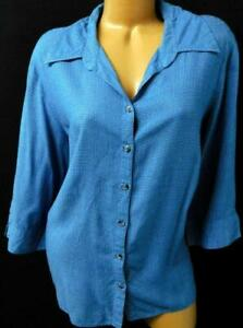 Fashion-Bug-blue-plaid-elbow-sleeves-women-039-s-buttoned-down-plus-size-top-22-24W