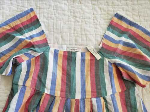 NEW WOMEN/'S XS S L MADEWELL SQUARE NECK MINI DRESS IN RAINBOW FESTIVAL STRIPE