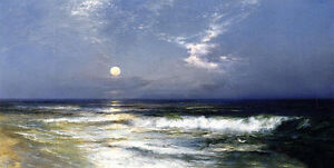 Huge-Oil-painting-Thomas-Moran-Moonlit-Seascape-with-moon-waves-by-beach