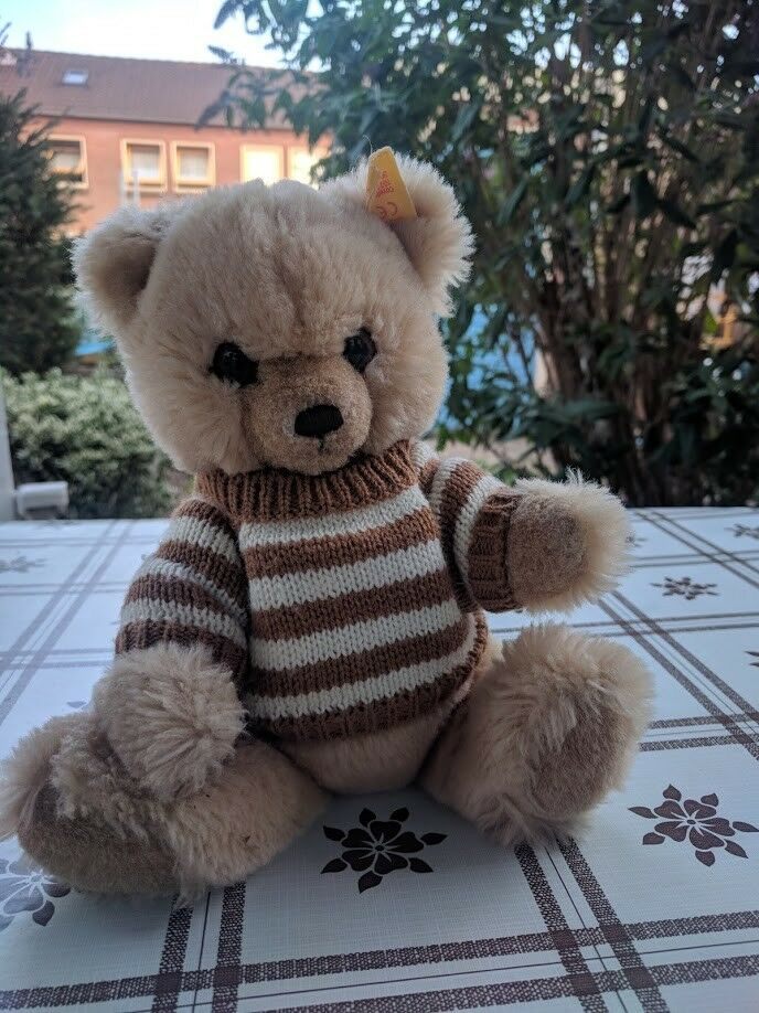 Steiff Petsy Teddy Bear Ean 012259 Blonde 11 Inch Button & Tag