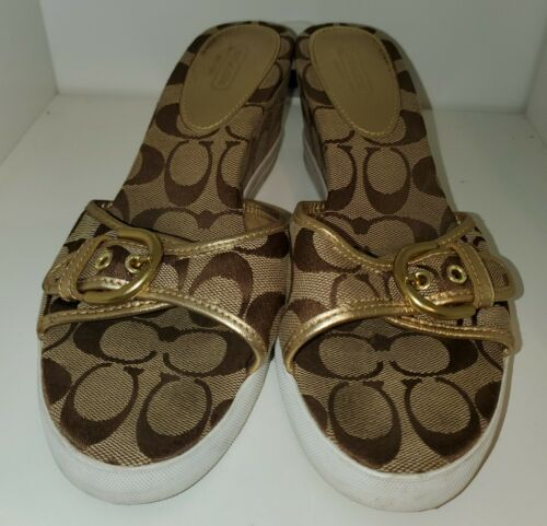 Coach Signature Perry Khaki Gold Wedge Sandals Sho