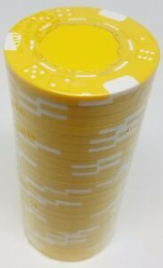 Poker Chips (25) Yellow Double Dice Mold 11.5 gram Clay Composite FREE SHIPPING*