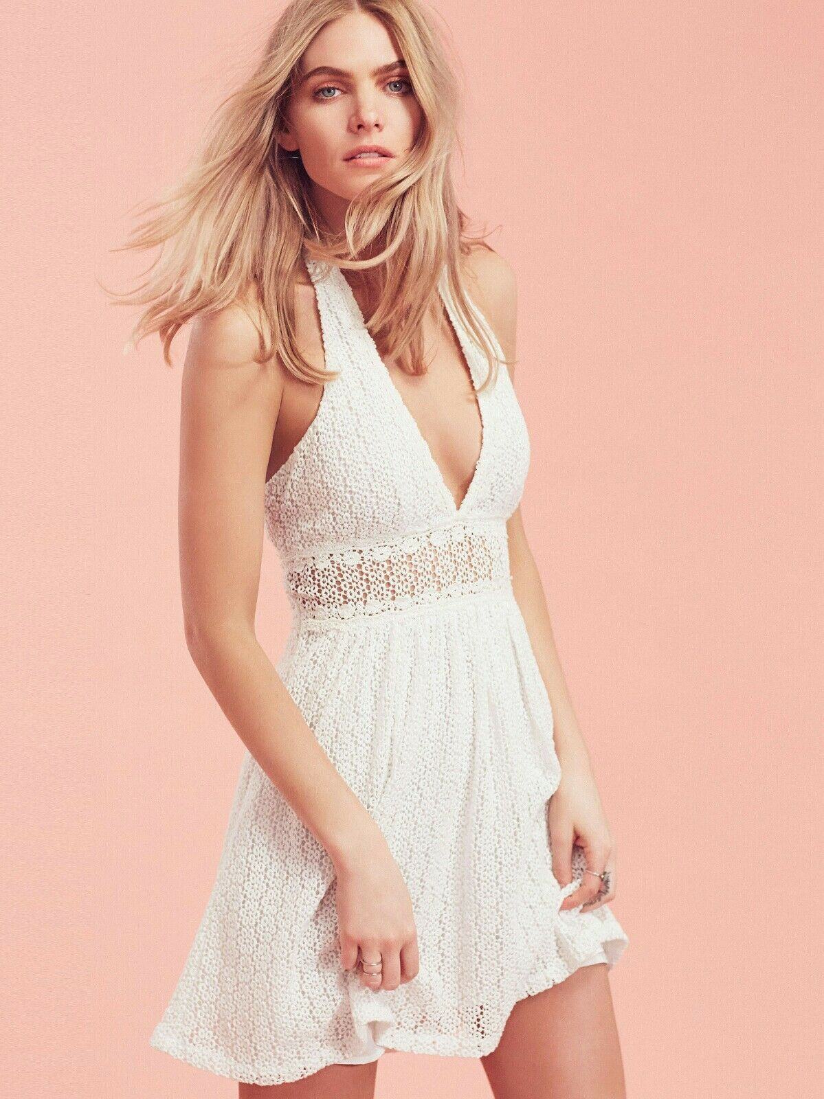 Free People So Sweetly Dress Halter Mini Crochet Cotton Size 12 White