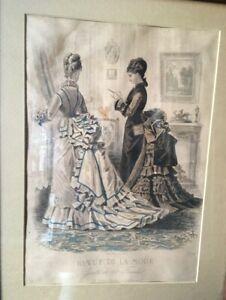 Antique Framed Sepia Engraved Fashion Print 1874 Godey's Paris France Farmhouse