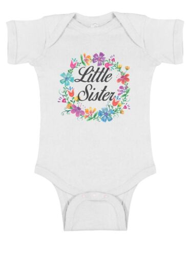 Little Sister Floral Wreath Frame Bodysuit or T-Shirt  ~ Personalized