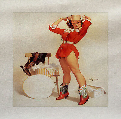 Pinup Lady cowboy Printed On Fabric Panel Make A Cushion Upholstery Craft