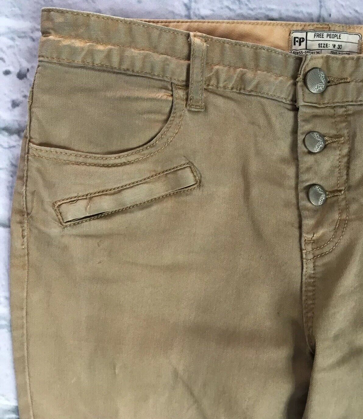 Free People W 30 Buttonfly Moto Skinny Dyed Camel Brown Jeans Zippers L 28.75
