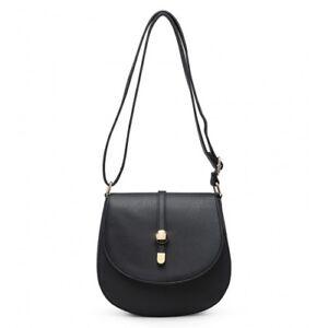 Ladies Stylish Studded Fx Leather Saddle Bag Shoulder Bag Satchel Handbag KL2370