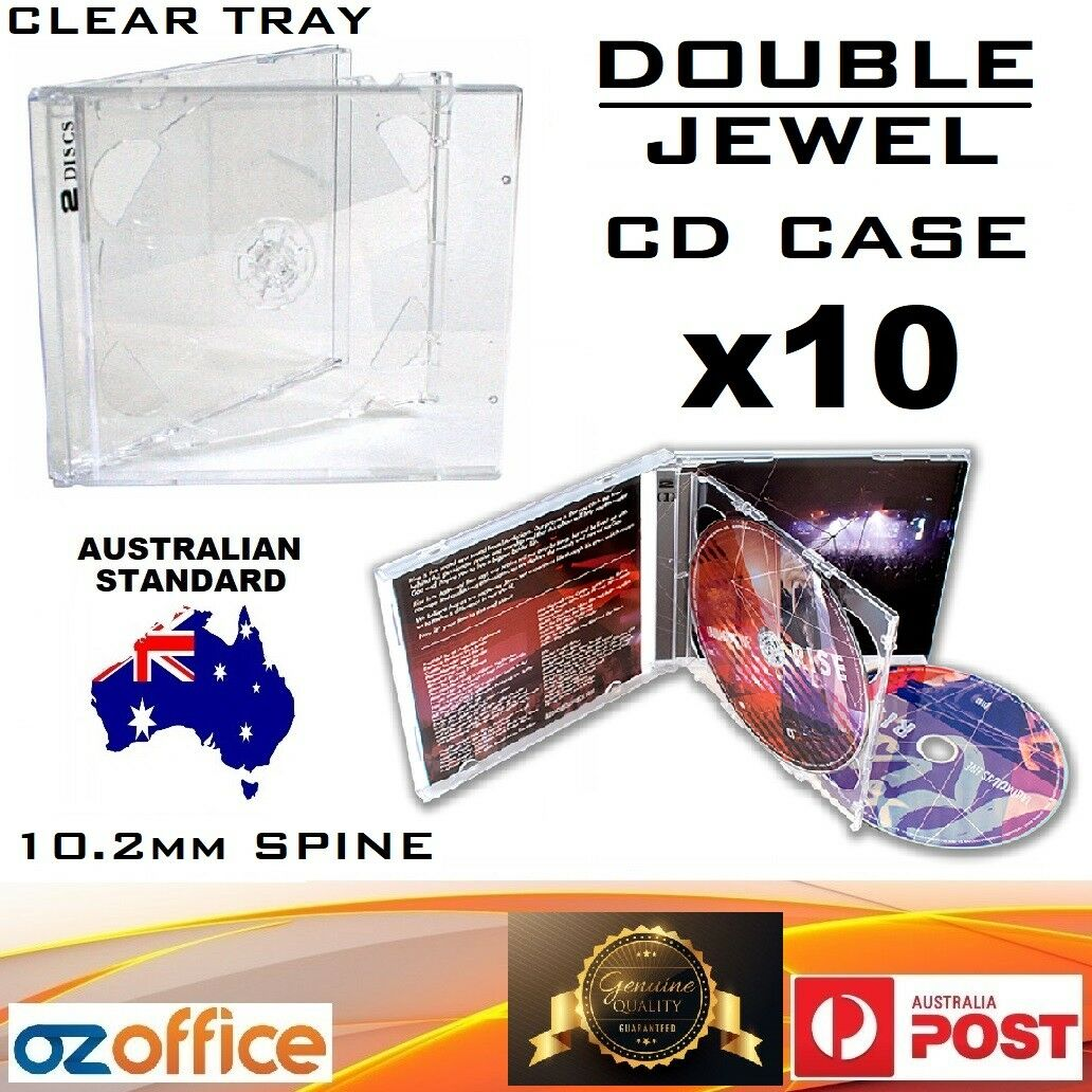 Australian Standard Size case 5 x Double Jewel CD Cases with Clear Tray