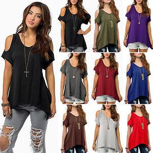 943339ea9a5d28 Women Plus Size Cold Shoulder Loose T-shirts Blouse Summer Batwing ...