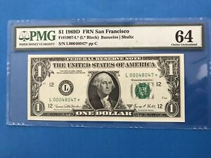 1969 Star $1 San Francisco Federal Reserve Note PMG 64 EPQ Choice Unc FRN Dollar