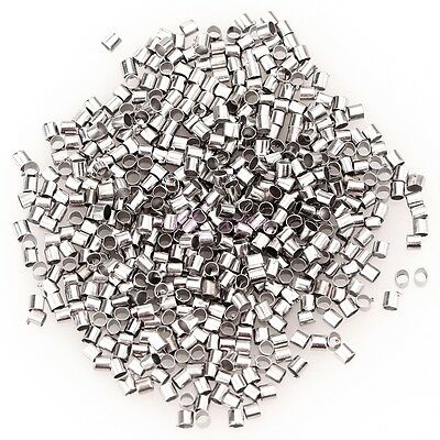500-1000pc Silver /Golden/Dark Silver Plated Tube Crimp End Spacer Beads 1.5/2mm