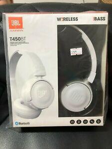 Jbl T450bt Wireless Bluetooth On Ear Headphones White Pure Bass Sound Brand New Ebay
