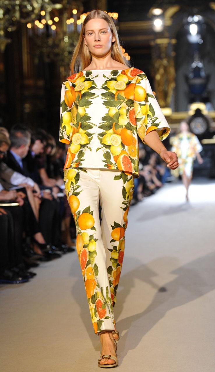New STELLA McCartney Red Carpet Citrus Design dress-y pants It 38,US 0-4,XXS-XS