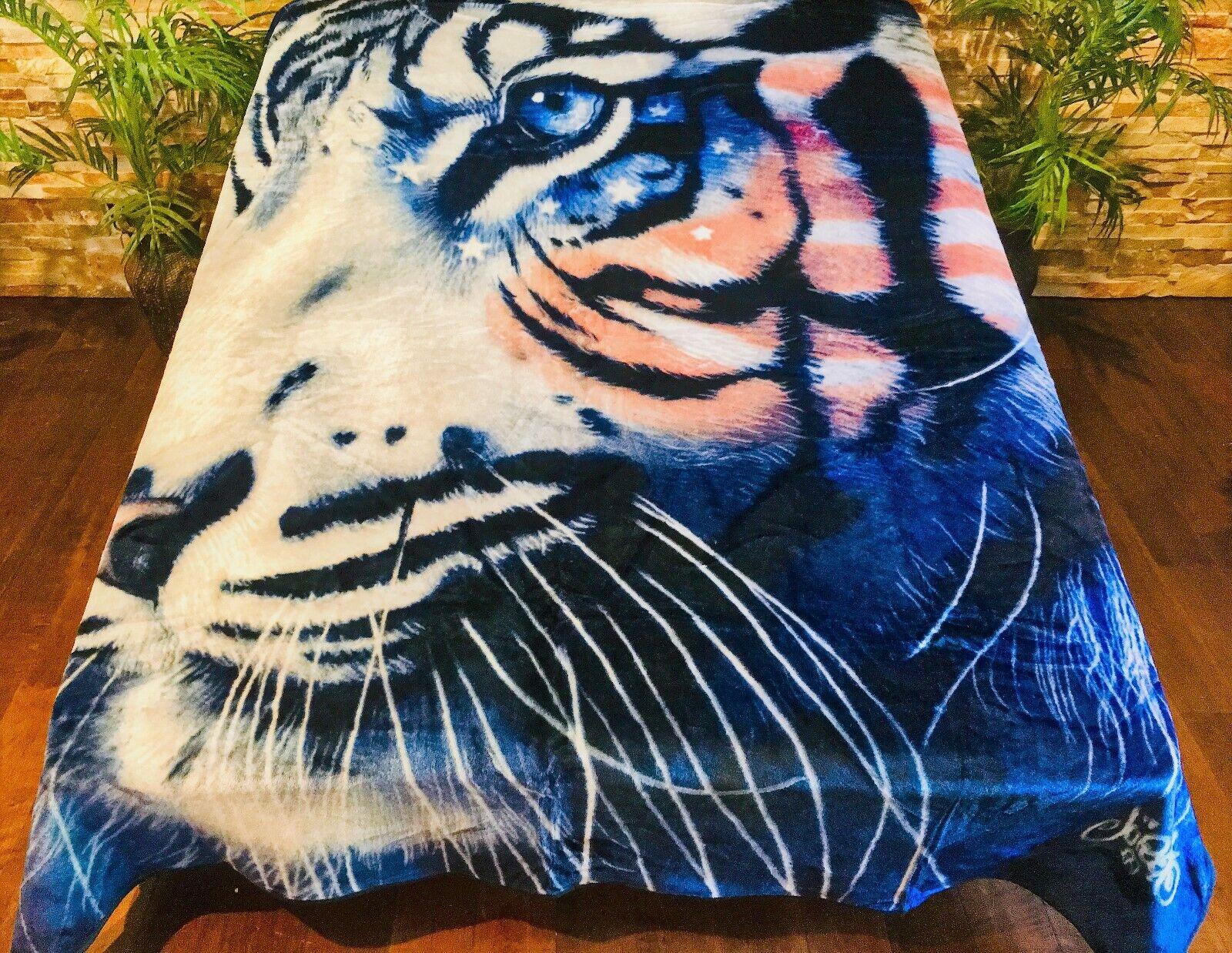 ☀️NEW  79x96 Luxury MEDIUM Weight Queen Blanket American Flag USA White Tiger