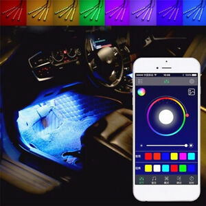 4-x-9LED-APP-Control-Colorful-RGB-Car-Interior-Floor-Atmosphere-Light-Strip-Fad