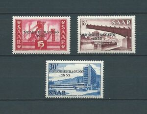 SARRE-SAAR-1955-YT-344-a-346-TIMBRES-NEUFS-LUXE