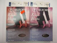 2 Truform Leg Health Stockings Sheer Knee High 8-15 Mmhg Beige Small Ew 5977j