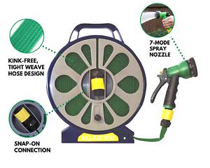15m Garden Flat Hose Pipe Reel Set Water Spray Gun Nozzle Retractable 50ft Ebay