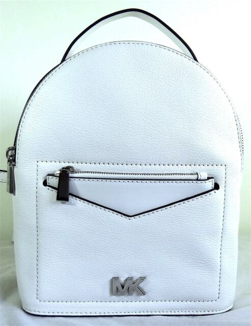 a3c2e835910f Michael Michael Kors Jessa White Pebbled Leather Small Comvertible Backpack