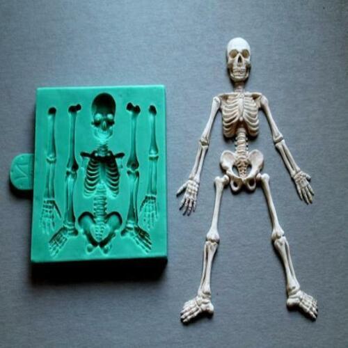 Skeleton Skull Silicone Mould Chocolate Fondant Sugarcraft Cake Candy Resin Mold