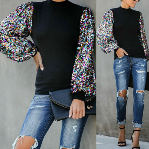 Womens Long Sleeve Puff Sequin Tops Blouse Ladies Casual Loose Sweater Pullovers