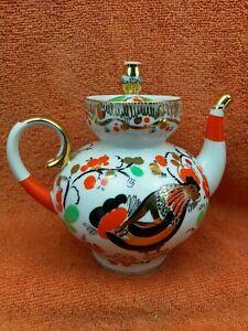 Vintage Lomonosov  USSR Russian Hand painted Cockrill Teapot