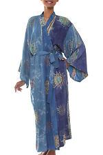 Women's Batik Robe Rayon One Size Handmade 'Blue Baliku' NOVICA Bali